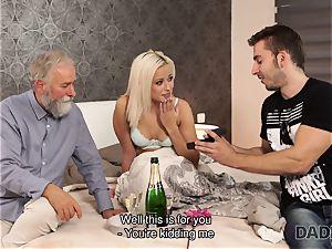 DADDY4K. gal rides elderly gent s joystick in dad porno movie